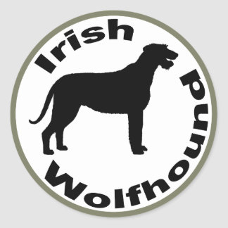Irish Wolfhound Circle Border Round Stickers