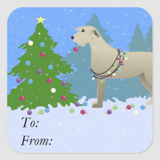 Irish Wolfhound decorating a Christmas tree-forest Square Sticker