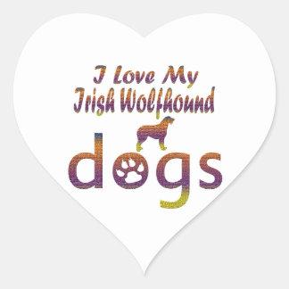 Irish Wolfhound designs Heart Sticker