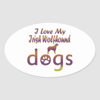 Irish Wolfhound designs Oval Sticker