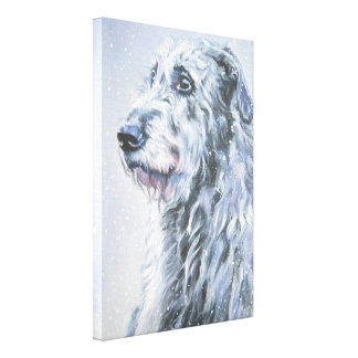 Irish Wolfhound Dog Art on Wrapped Canvas Stretched Canvas Print
