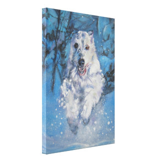 Irish Wolfhound Dog Art on Wrapped Canvas Canvas Prints