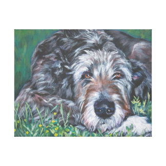 Irish Wolfhound Dog Art on Wrapped Canvas Canvas Print