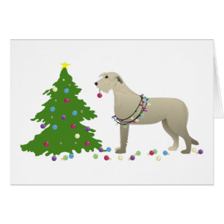 Irish Wolfhound Dog Breed Silhouette Christmas Card