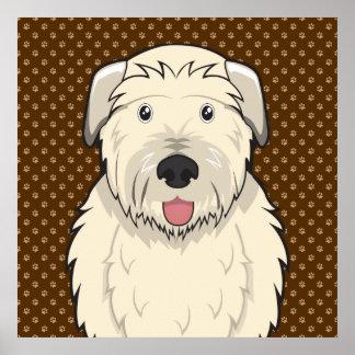 Irish Wolfhound Dog Cartoon Paws Posters