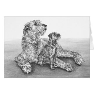Irish Wolfhound Dogs Drawing by Kelli Swan Card
