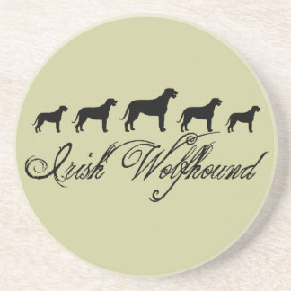 Irish Wolfhound Dogs w text Beverage Coasters