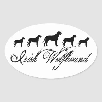Irish Wolfhound Dogs (w/ text) Oval Stickers