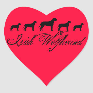 Irish Wolfhound Dogs (w/ text) Heart Stickers