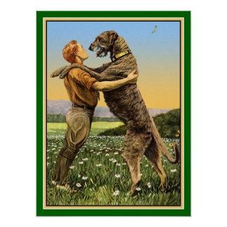 """Irish Wolfhound Greeting"" Poster"