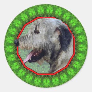Irish Wolfhound Happy Howliday Round Sticker