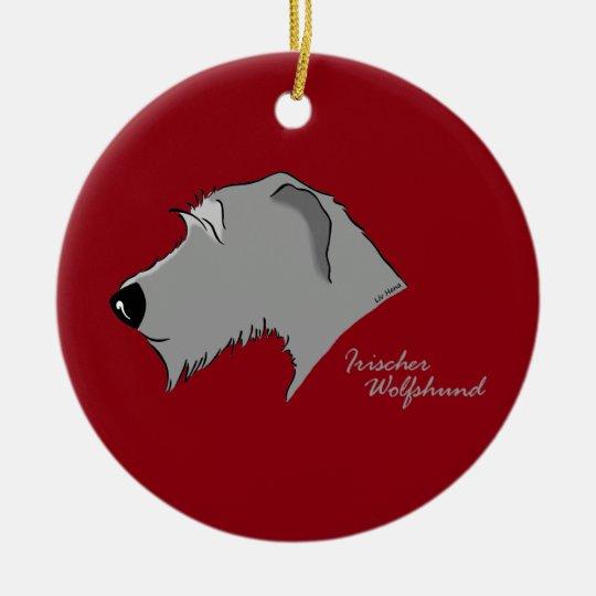 Irish Wolfhound head silhouette Christmas Ornament