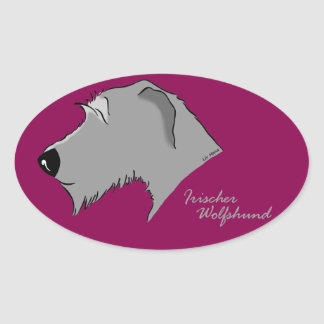 Irish Wolfhound head silhouette Oval Sticker