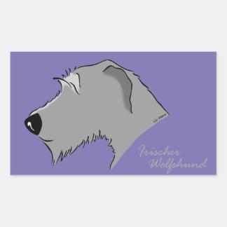 Irish Wolfhound head silhouette Rectangular Sticker