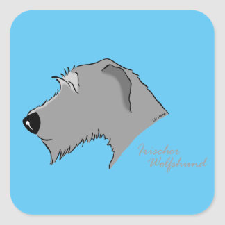 Irish Wolfhound head silhouette Square Sticker