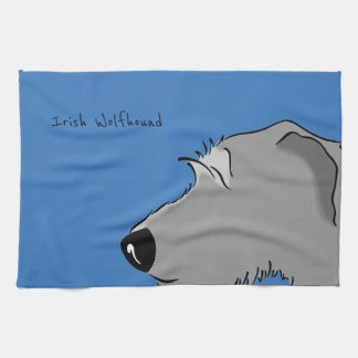 Irish Wolfhound Head Tea Towel