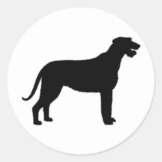 Irish Wolfhound in black Round Sticker