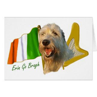 Irish Wolfhound Irish Flag and Harp Card
