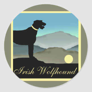 Irish Wolfhound Landscape Round Sticker