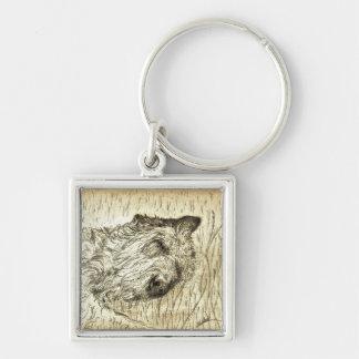 """Irish Wolfhound """"Let sleeping dogs lie"""" Keychain"""