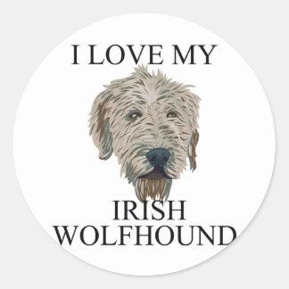 Irish Wolfhound Love Round Stickers
