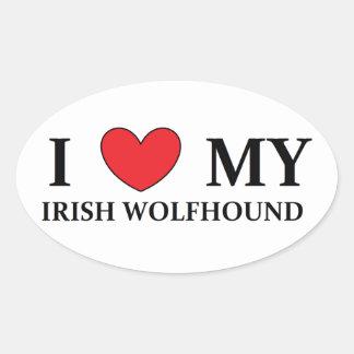 irish wolfhound love oval stickers