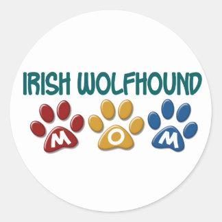 IRISH WOLFHOUND Mom Paw Print 1 Round Sticker