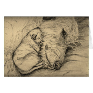 Irish Wolfhound Mother and Puppy Note Card