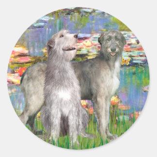 Irish Wolfhound Pair - Lilies 2 Round Sticker