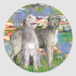 Irish Wolfhound Pair - Lilies 2 Classic Round Sticker