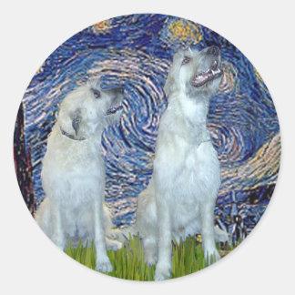 Irish Wolfhound Pair - Starry Night Round Sticker