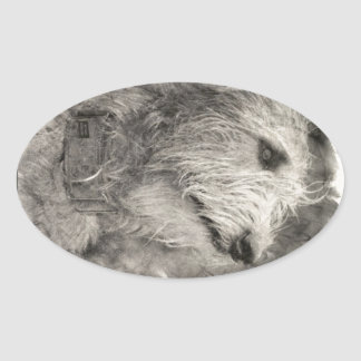 Irish Wolfhound perfect pose Oval Sticker