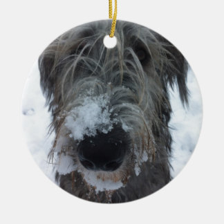 irish wolfhound playing in the snow christmas ornament