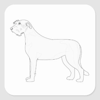 Irish Wolfhound Ready to Color Designs Square Sticker