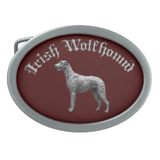 Irish Wolfhound Round Belt Buckle (Red/Silver)