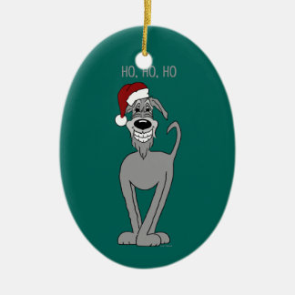 Irish Wolfhound Santa Ceramic Oval Decoration