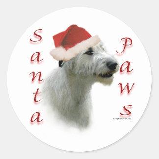 Irish Wolfhound Santa Paws Round Sticker