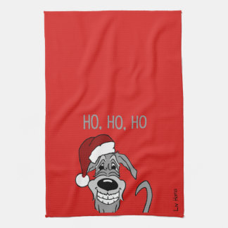 Irish Wolfhound Santa Tea Towel
