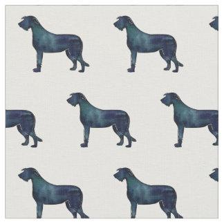 Irish Wolfhound Silhouette Tiled Fabric -Black WC