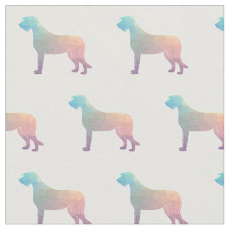 Irish Wolfhound Silhouette Tiled Fabric - Pastel