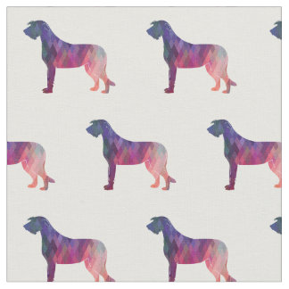 Irish Wolfhound Silhouette Tiled Fabric - Pink