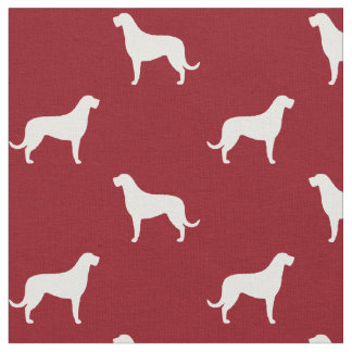 Irish Wolfhound Silhouettes Pattern Red Fabric
