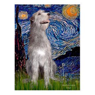 Irish Wolfhound - Starry Night (Vert) - Customized Postcard