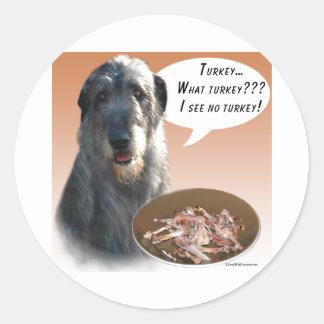 Irish Wolfhound Turkey Round Sticker