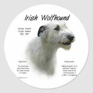 Irish Wolfhound (wht) History Design Classic Round Sticker
