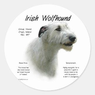 Irish Wolfhound (wht) History Design Round Sticker