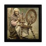 Irish Woman and Spinning Wheel 1890 Large Square Gift Box