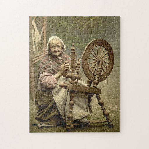 Irish Woman and Spinning Wheel 1890 Puzzles