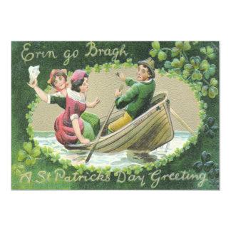 Irish Woman Man Rowboat Shamrock Card