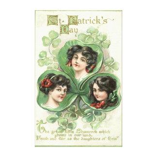 Irish Woman Shamrock Portrait Stretched Canvas Print